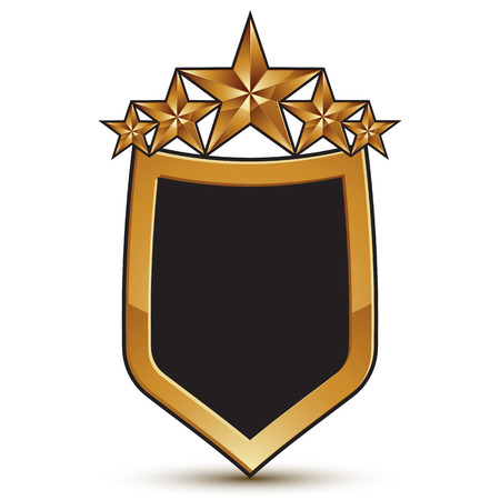 Vector glorious glossy design element, shield symbol with five luxury 3d golden stars, conceptual graphic template, clear EPS 8.