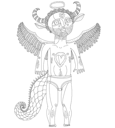 artistic nude: Vector hand drawn graphic black and white illustration of bizarre creature, cartoon nude man with wings, animal side of human being. Saint idol artistic allegory drawing.