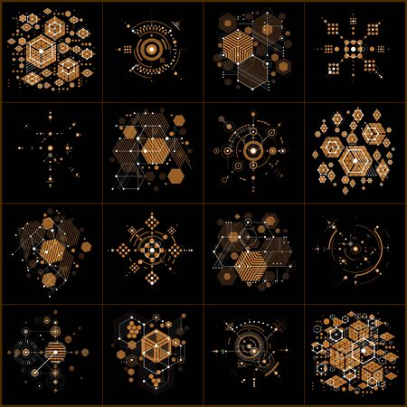 Bauhaus art. Set of modular vector wallpapers made using hexagons and circles. Retro style patterns, graphic backdrops for use as booklet cover templates. Illustration of engineering system.