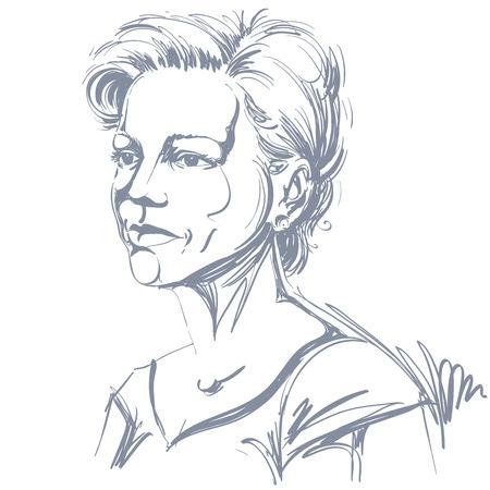 Vector portret van aantrekkelijke vrouw, illustratie van goed uitziende seus vrouw. Persoon emotionele gezichtsuitdrukking. Stock Illustratie