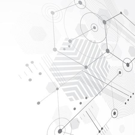 perspectiva lineal: Papel pintado retro de la Bauhaus, la perspectiva fondo blanco y negro del arte del vector hecha usando líneas y panales. Geométrica 1960 ilustración gráfica se puede utilizar como diseño de la cubierta folleto. Vectores