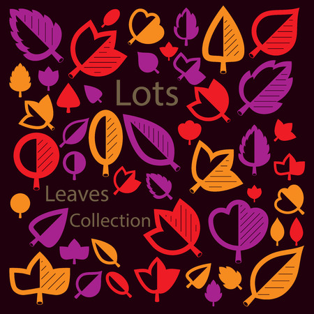 alder: Vector illustration of orange and red tree leaves isolated on white background. Set of simple drawn nature design elements, graphic symbols made in ecology theme.