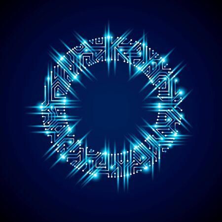 Vector abstract Computer Blendung Leiterplatte, blau runden Technologie Element mit Anschlüssen und Neonröhren. Elektronik Thema Web-Design.