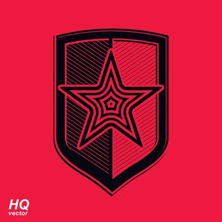 communism: Vector shield with a red pentagonal Soviet star, protection heraldic blazon. Communism and socialism conceptual symbol. Ussr design element.