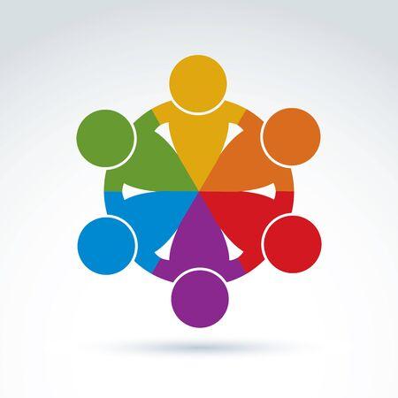 Międzynarodowy zespół biznesu, wspólnota społeczna. Wektor kolorowych ilustracji związku razem pojęcia.
