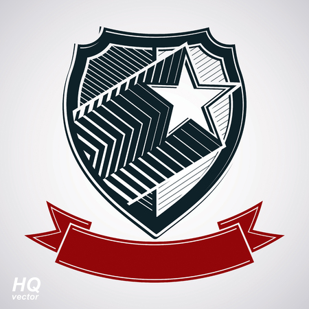 blazon: Vector shield with pentagonal comet star and decorative curvy band, protection heraldic sheriff blazon with red ribbon. Ussr socialism conceptual symbol. Award, graphical coat of arms. Illustration
