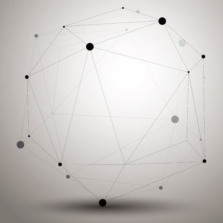 gray netting: Abstract 3D structure polygonal network object, grayscale deformed figure.
