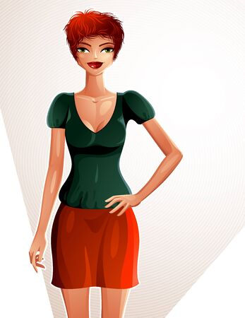full body woman: Young pretty lady. Vector illustration of a woman standing, full body portrait.