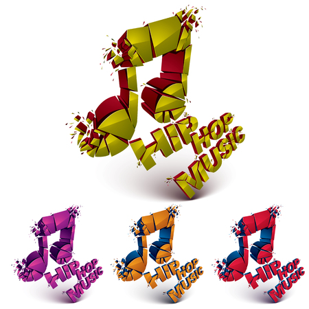 grooves: Colorful 3d vector shattered musical notes collection with specks and refractions. Hip hop music theme dimensional facet design music demolished symbols set. Illustration