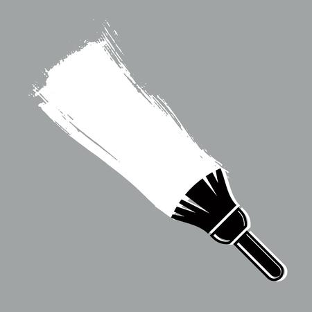 brushstroke: Monochrome grunge brushstroke, acrylic sample created with paintbrush. Wall painting vector conceptual illustration. Illustration