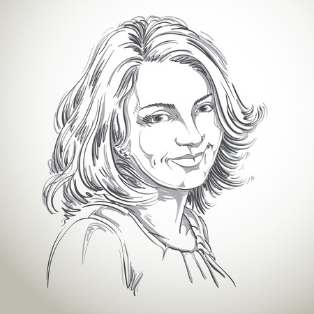 satisfied expression: Hand-drawn portrait of white-skin smiling woman, face emotions theme illustration. Beautiful lady posing on white background.
