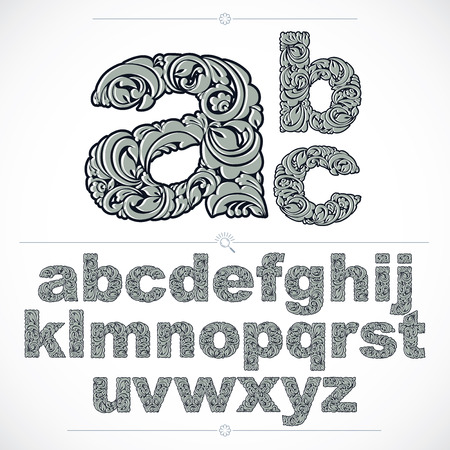 typescript: Floral font, hand-drawn vector lowercase alphabet letters decorated with botanical pattern. Black and white ornamental typescript, vintage design lettering.