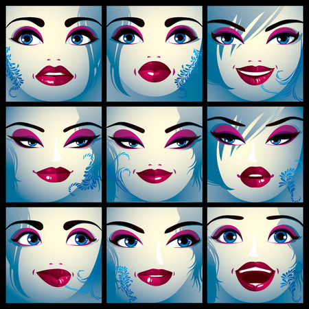 eyelid: Attractive ladies vector portraits collection, girls with beautiful makeup and blue eyes. Facial expression of females.