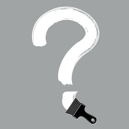 symbol  punctuation: Vector hand-drawn question mark isolated, punctuation mark created with paintbrush. Monochrome conversation symbol made with brushstrokes. Illustration