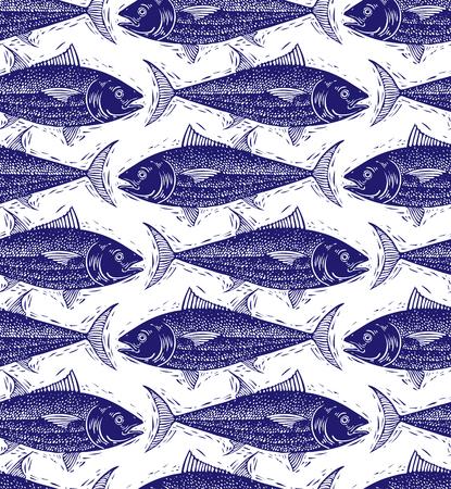 fauna: Seamless sea vector pattern, different fish silhouettes. Hand drawn fauna wallpaper, aqua nature continuous background.