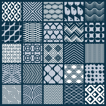 entwine: Set of vector endless geometric patterns composed with different figures like rhombuses, squares and circles. Graphic ornamental tiles made in black and white colors.