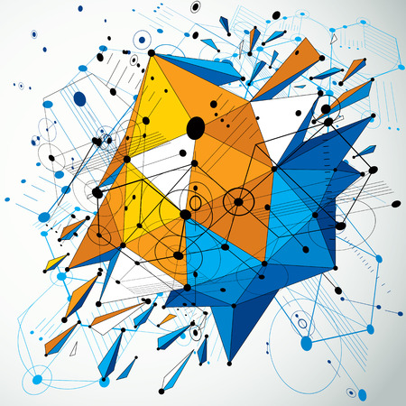 bauhaus: 3d vector abstract colorful background created in Bauhaus retro style. Dimensional geometric composition with low poly shattered object and graphic elements can be used as templates and layouts.