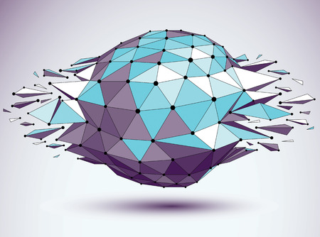 shattered: Abstract 3d faceted figure with connected black lines and dots. Vector blue low poly shattered design element with fragments and particles. Explosion effect.