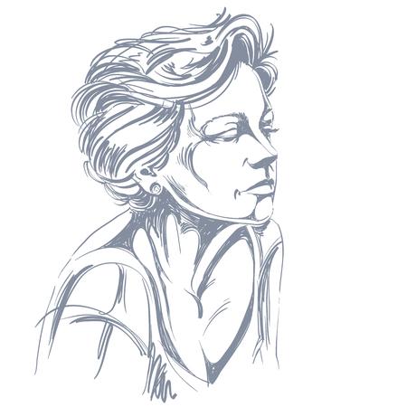 Hand-drawn portrait of white-skin sad woman, face emotions theme illustration. Beautiful sorrowful lady posing on white background.