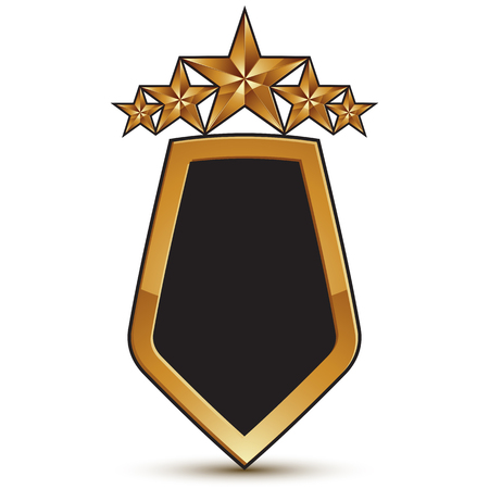 relic: Heraldic 3d glossy icon with black filling, five pentagonal golden stars, clear EPS 8 vector glamorous shield isolated on white background.