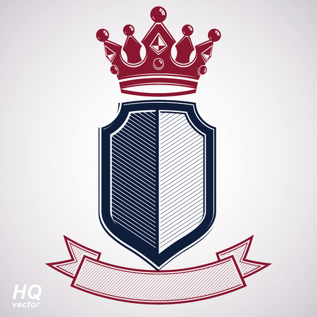 coronet: Empire design element. Heraldic royal coronet illustration - imperial striped decorative coat of arms. Luxury vector shield with king red crown and undulate festive ribbon.