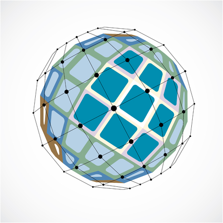 facets: 3d vector digital wireframe spherical object made using facets. Geometric polygonal green structure created with lines mesh and squares. Low poly shape, lattice form for use in web design.