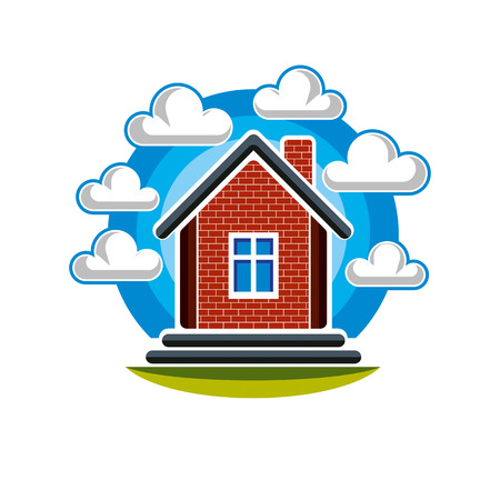 building sector: Simple house vector illustration, countryside idea. Abstract image of a building over beautiful landscape with blue sky and fluffy clouds. Real estate theme.