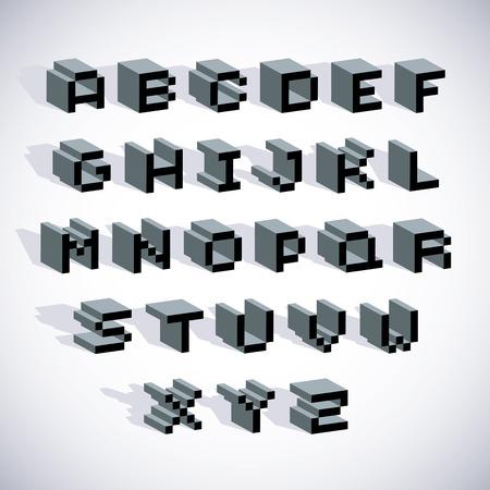 drop cap: Cybernetic 3d alphabet letters, pixel art vector digital typescript. Pixel design elements, contemporary dotted font made in technology style.