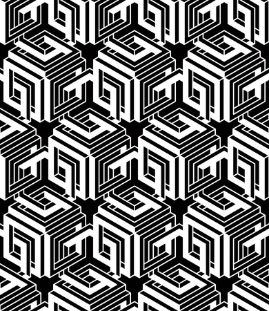 superimpose: Contemporary abstract vector endless background, three-dimensional repeated pattern. Decorative graphic entwine ornament.