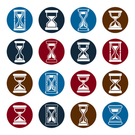 interim: Stylized sand-glass vector illustrations. Set of antique classic hourglasses, clocks collection. Time idea icons isolated.