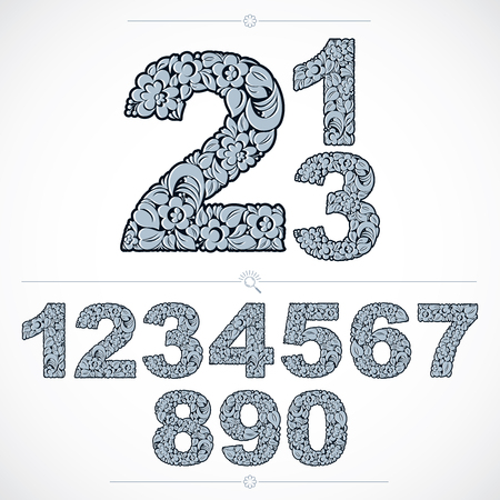 numeration: Set of vector ornate numbers, flower-patterned numeration. Blue characters created using herbal texture. Illustration