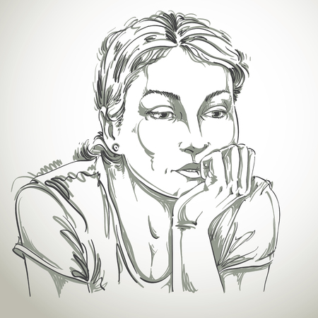 pensive: Hand-drawn vector illustration of beautiful romantic and pensive woman thinking about something sad. Monochrome image, expressions on face of young lady. Illustration