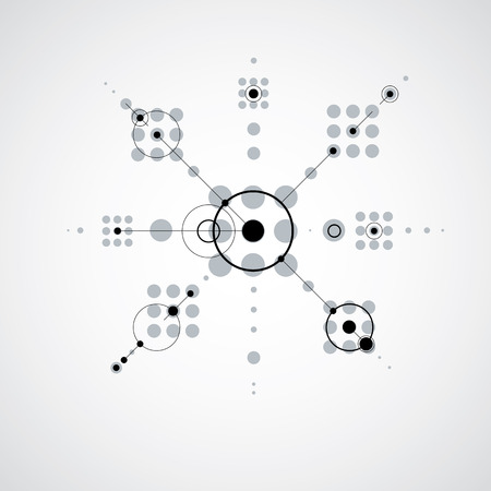 bauhaus: Modular Bauhaus monochrome vector background, created from simple geometric figures like circles and lines. Best for use as advertising poster or banner design.