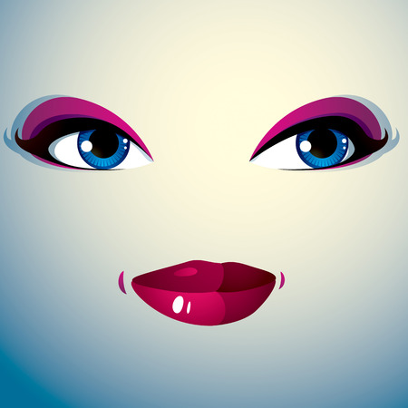 physiognomy: Parts of the face of a young beautiful lady with a bright make-up, lips and eyes. People facial expression, happy smiling woman. Illustration