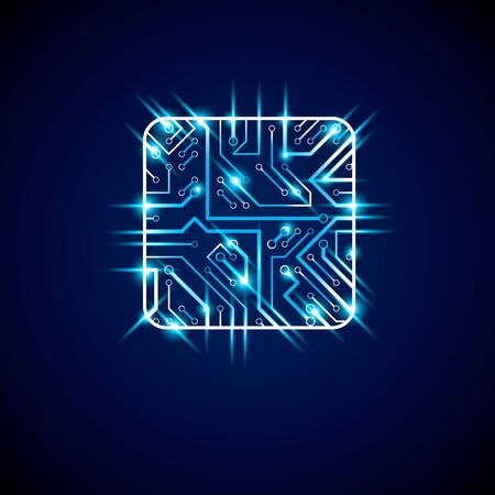 Collection of vector microchip design, cpu. Information communication technology element with sparkles and neon lights, luminescent circuit board in the shape of square.