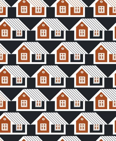 depiction: Real estate theme symmetric vector seamless pattern, abstract houses depiction. Property developer idea, for use in graphic design.