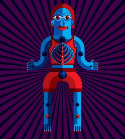good karma: Bizarre creature vector illustration, cubism graphic modern picture. Flat design image of an odd character isolated on artistic background. Illustration