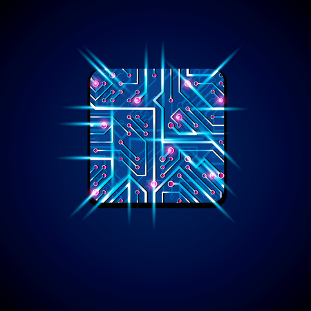 luminescent: Collection of vector microchip design, cpu. Information communication technology element with sparkles, blue neon luminescent circuit board in the shape of square.