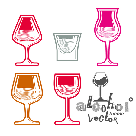 revelry: Colorful glasses collection � martini, wine, cognac, whiskey and champagne. Alcohol theme eps8 creative illustrations. Entertainment elements, best for use in graphic and web design. Illustration