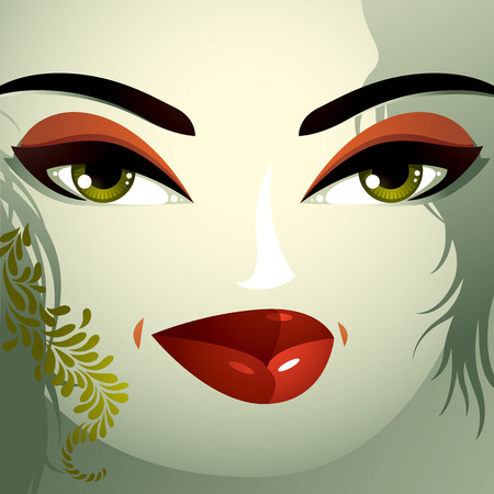 thorny: Cosmetology theme image. Young pretty lady with fashionable haircut. Human eyes, lips and eyebrows reflecting a facial expression, passion.