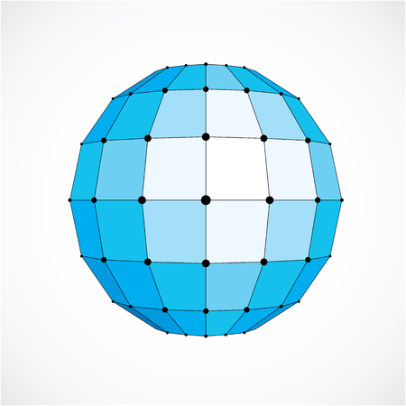 facet: Vector dimensional wireframe low poly object, spherical blue facet shape with black grid. Technology 3d mesh element made using squares for use as design form in engineering. Illustration