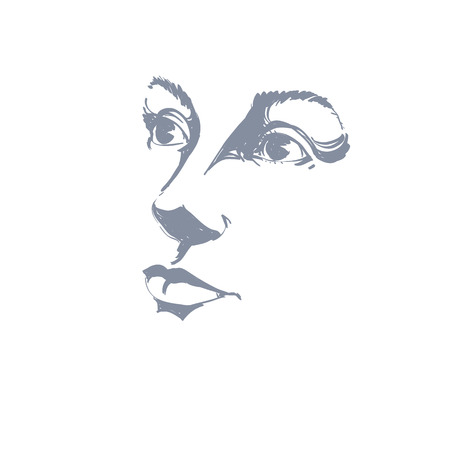 bemused: Hand-drawn art portrait of white-skin romantic woman, silhouette of woman face.  Face emotions theme illustration. Peaceful lady posing on white background, outline.