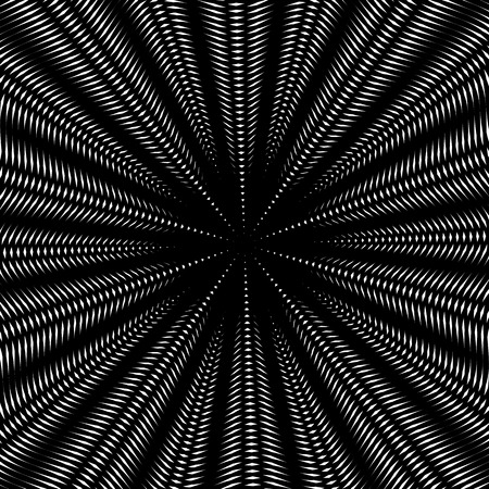 meditative: Optical illusion, creative black and white graphic moire backdrop. Decorative lined hypnotic vector contrast background. Illustration
