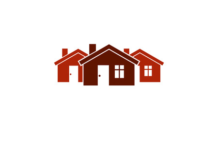 homely: Abstract simple country houses vector illustration, homes image. Touristic and real estate idea, three cottages front view, district. Construction business or property developer theme.