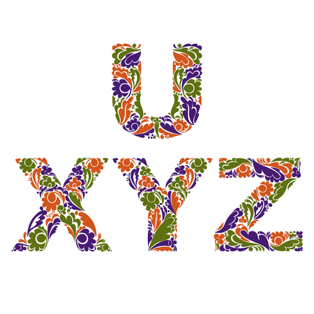 y ornament: Stylish script with herbal autumn ornament. Beautiful font with floral pattern, U, X, Y, Z.