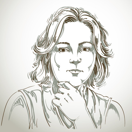 goodlooking: Portrait of delicate good-looking woman thinking about something, black and white vector drawing. Emotional expressions idea image.