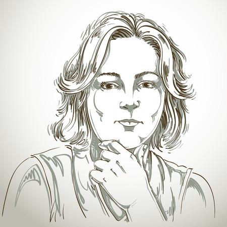 Portret van delicate goed uitziende vrouw te denken over iets, zwart en wit vector tekening. Emotionele uitdrukkingen afbeelding idee.