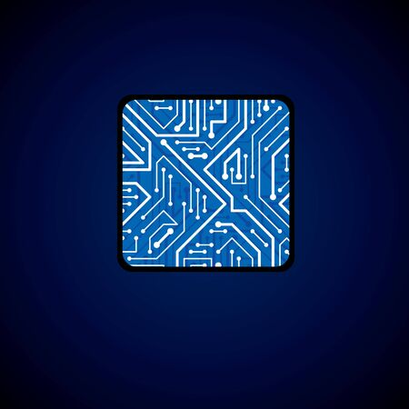 luminescent: Vector technology cpu design with square blue luminescent microprocessor scheme. Computer circuit board, digital element with flash effect. Illustration