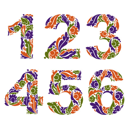 3 4: Beautiful floral numbers, decorative digits with vintage seasonal autumn pattern. 1, 2, 3, 4, 5, 6.