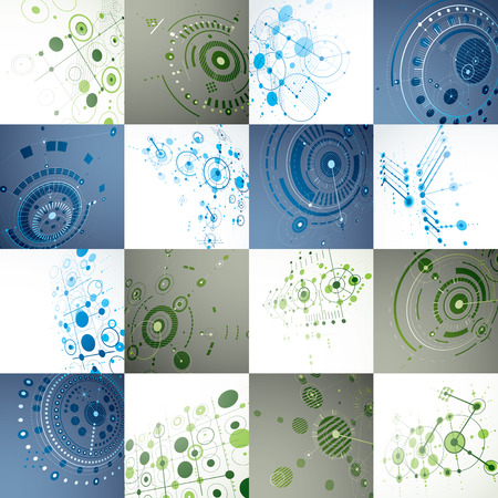 schemes: Set of modular Bauhaus 3d vector backdrops, created from geometric figures like circles and lines. Best for use as advertising poster or banner design. Perspective abstract mechanical schemes.